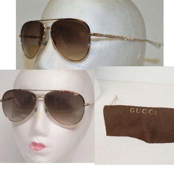 Auth GUCCI Swarovski Crystal Aviator Sunglasses